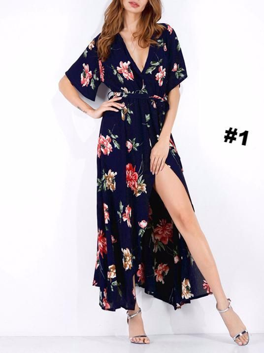 52bab20939f Pretty Floral High Slit Deep V-neck Maxi Dress