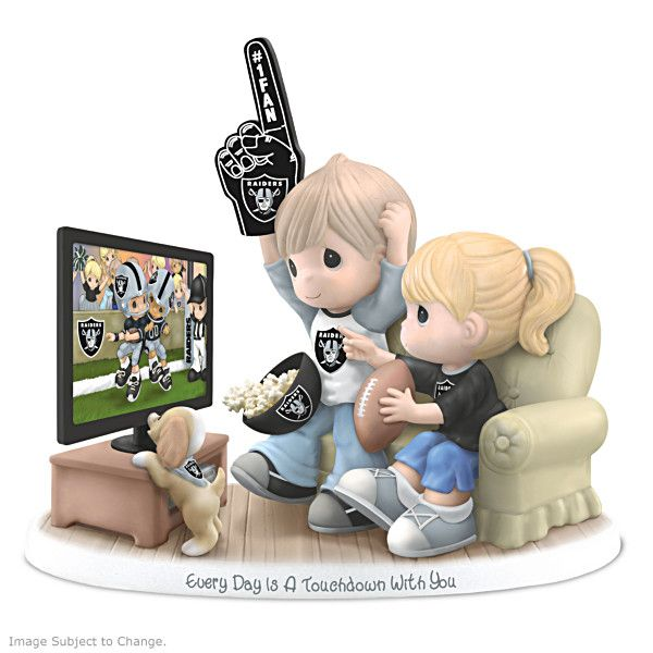 "Precious Moments Oakland Raiders Fan Porcelain Figurine (Every Day Is A Touchdown With You Raiders Figurine) (The Hamilton Collection) (6"" W x 5 1/4"" H) [I sooo want this!!!]"