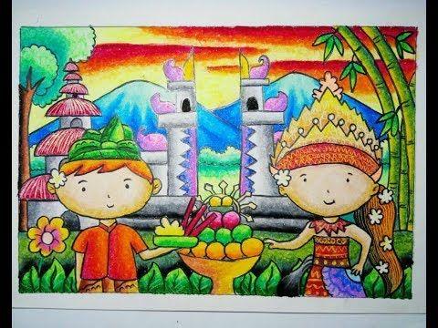 Cara Mewarnai Gradasi Crayon Pakaian Adat Bali Youtube Youtube