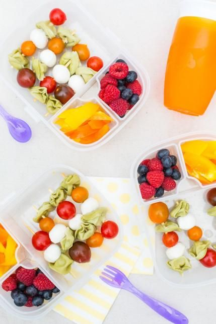 Caprese Tortellini Lunch Box: If you're looking for healthy lunch ideas these caprese skewers are a must-have. The basil tortellini combined with tomatoes and mozzarella are rich in flavor. Pair them with some crisp veggies and fruit for a complete meal.