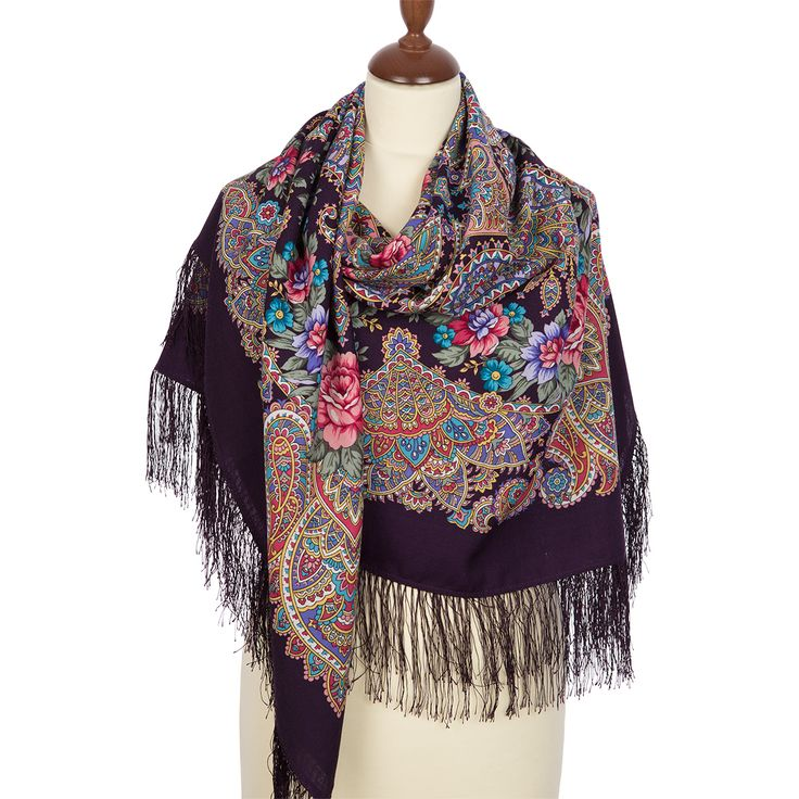 FREE SHIPPING. Russian shawls and scarves store. Russian shawl Gentle sun 1664-15. Traditional Russian Pavlovo Posad scarf.