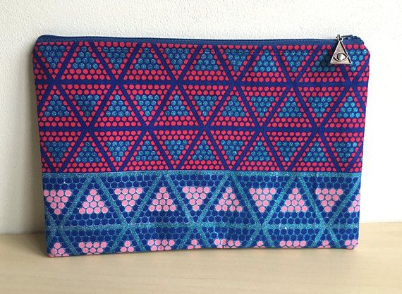 Large Make Up Bag  African Waxed Fabric  Pencil Case
