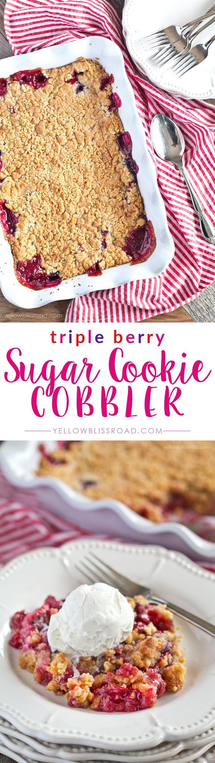 Triple Berry Sugar Cookie Cobbler with strawberries, blueberries and raspberries