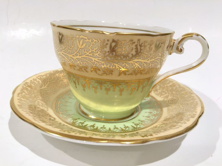 Captivating Aynsley Tea Cup and Saucer, Gold Green Cups, Tea Set, Antique Teacups, Tea Cups Antique, Bone China Tea Cups, VogueTeam by AprilsLuxuries on Etsy