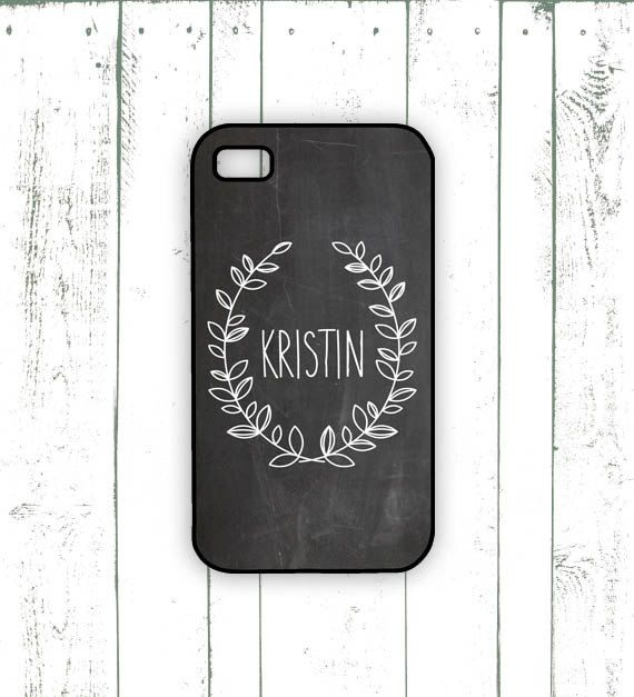 Chalkboard iPhone Case - Monogrammed iPhone Case with Laurel - Personalized Gift for iPhone