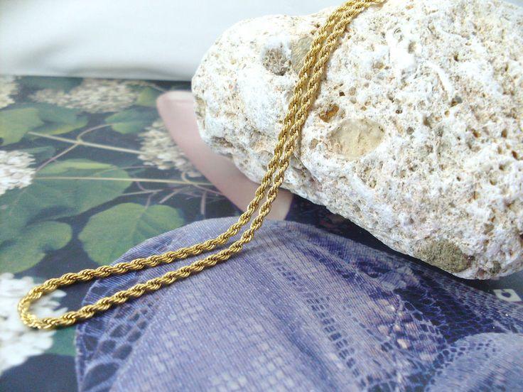 Collana Oro Giallo Mod. Corda Unisex Uomo Donna Girocollo Catenina,collier en or