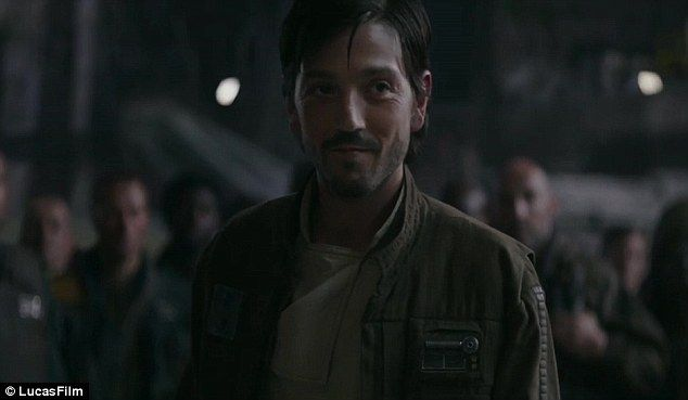 Sounds familiar: Right before some new shots of a U-Wing entering hyperspace, Diego Luna's Cassian Andor can be heard muttering the old Han Solo catchphrase to his co-pilot: 'Punch it!'