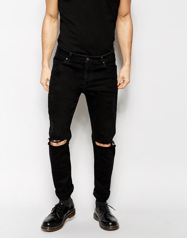 asos asos skinny jeans with extreme rips at asos stuff. Black Bedroom Furniture Sets. Home Design Ideas