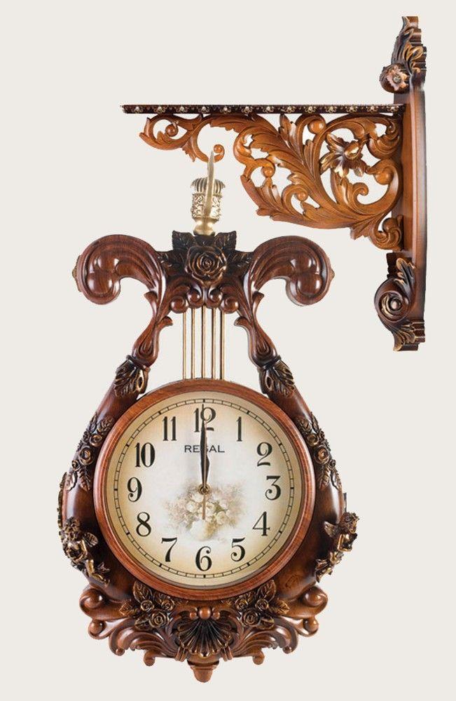Carved wood clock