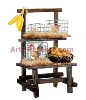 Arte Pesebre - Mercado con jaulas