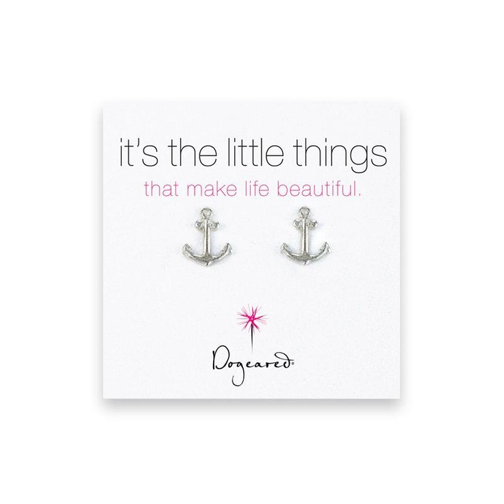 Dogeared Silver Anchor Stud Earrings at aquaruby.com