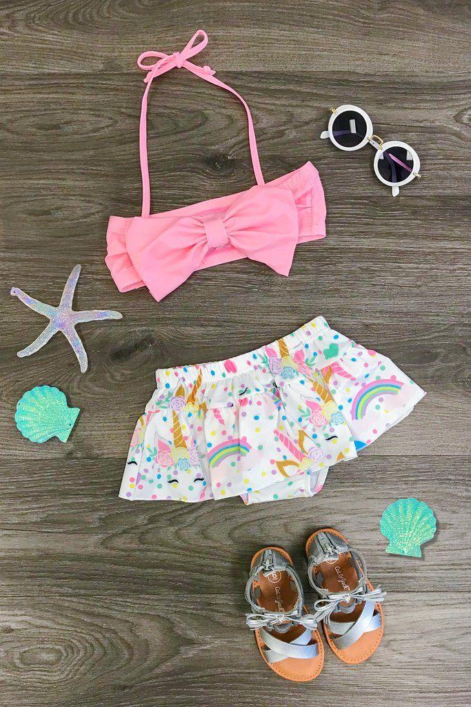 cd1bd7c50c8 Pink Unicorn 2 Piece Swimsuit Set   Boutique Outfits   Baby swimsuit ...