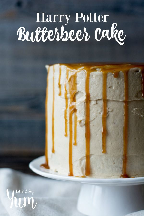 Harry Potter Butterbeer Cake, with browned butter frosting and a molasses butterscotch sauce