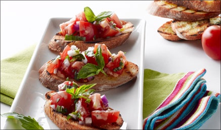 Caesar Bruschetta Tomatoes with Grilled Bread