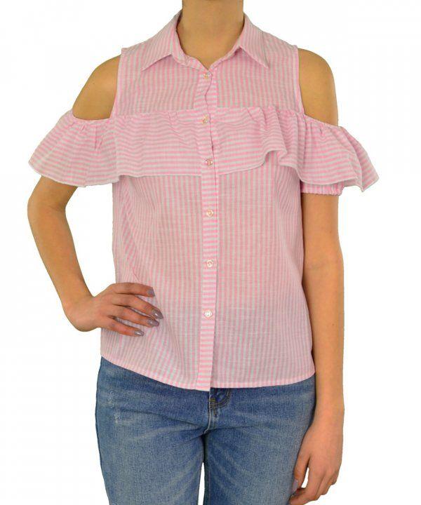 Γυναικείο πουκάμισο Lipsy ριγέ ροζ με βολάν 1170504Q #γυναικείαπουκάμισα #ρούχα #στυλάτα #fashion #μόδα #γυναίκες #βραδυνά #μεταξωτά