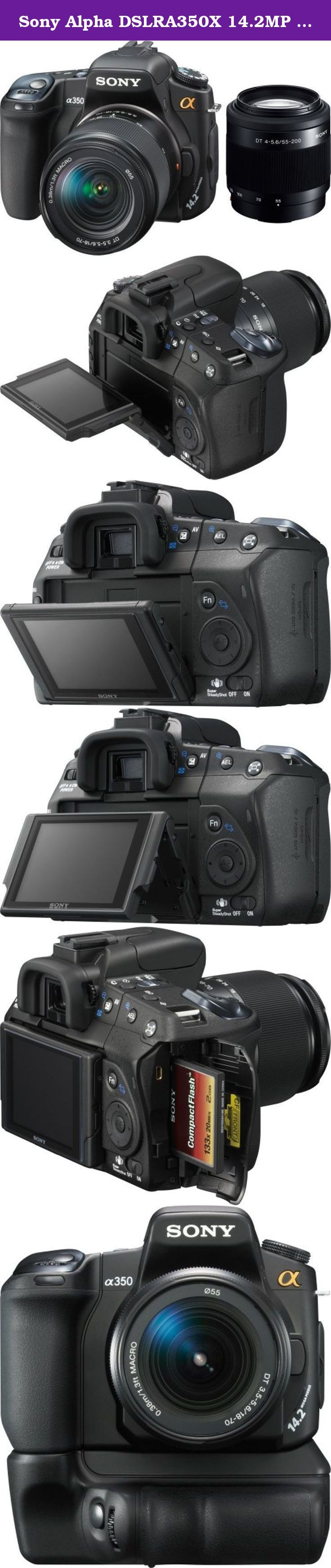 Sony Alpha DSLRA350X 14.2MP Digital SLR Camera with Super SteadyShot Image Stabilization with DT 18-70mm f/3.5-5.6 & DT 55-200mm f/4-5.6 Zoom Lenses. With incredible 14.2 MP detail, Sony¿s ¿ (alpha) DSLR-A350 raises the standard of excellence for step-up digital photographers shooting both family memories and fine-art photos. Live Preview in a large 2.7¿ LCD screen links you and your subject -- and you¿ll have special features like super-quick AF response, continuous shooting at 2 fps…
