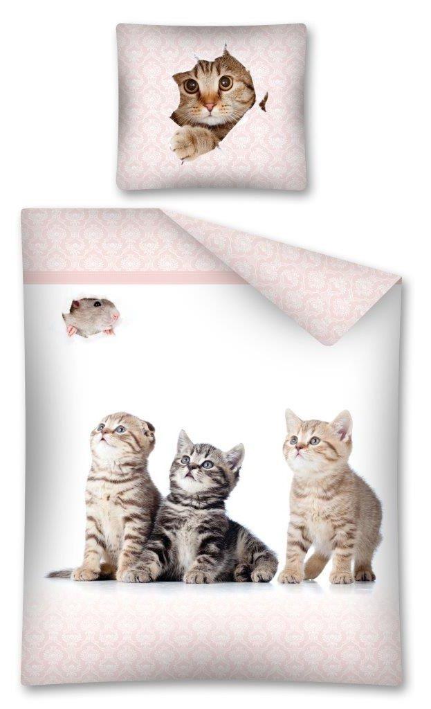 Detské posteľné obliečky s maličkými mačkami bielo ružovej farby
