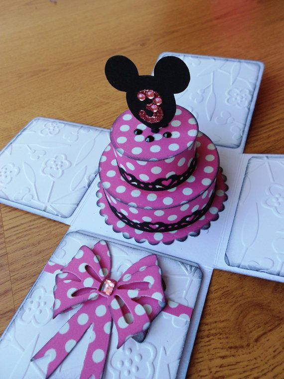 Minnie inspired Birthday Cake Card / Party Invitation - Exploding box card