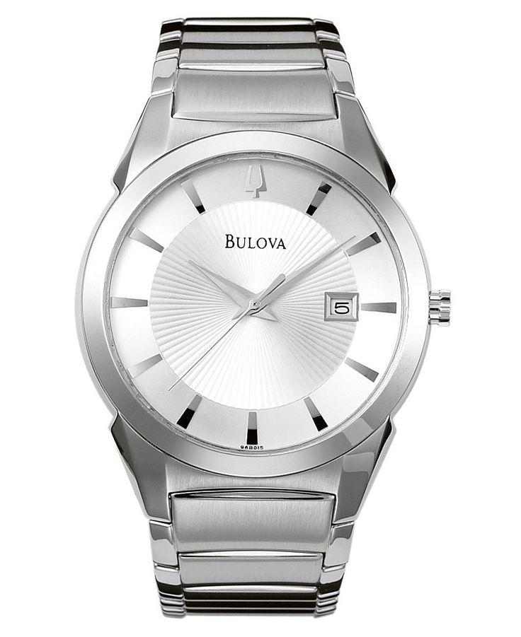 Bulova men 39 s stainless steel bracelet watch 38mm 96b015 bracelets window and stainless steel for Watches 38mm