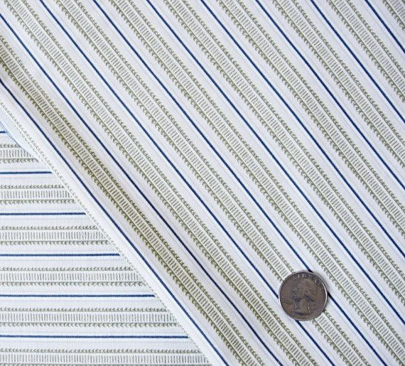 1 Yard Quilting Cotton Designer Fabric, Khaki and Blue Victorian Stripe Pattern on white. $4.95, via Etsy.