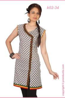 Black and white printed jaipuri kurti.