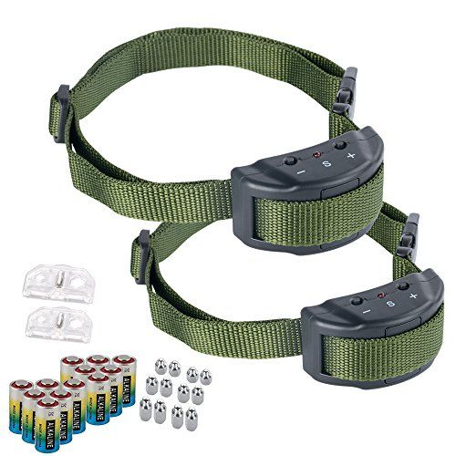 Bark Collar - Adjustable Sensitivity Electric Training Dog Collars Puppy Anti Barking Control Devices For 15-120 Pounds Dogs - Bundled With 6 Alkaline Batteries?Green Green?