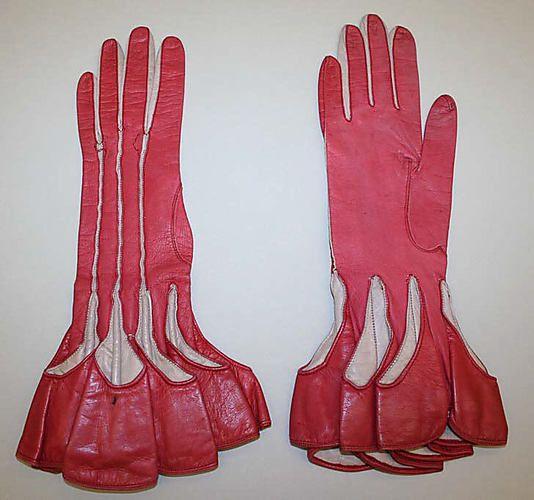 1920's ~ Vintage Art Deco Pink Leather Gloves ....