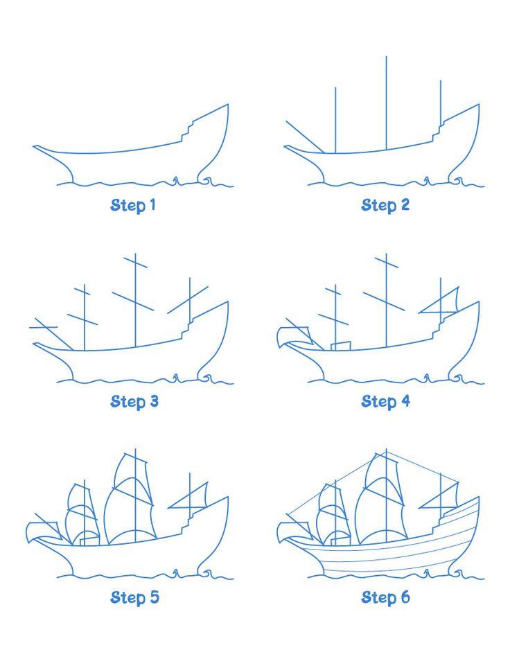 Mayflower ship drawing lesson