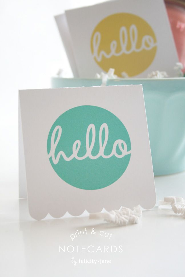 Print & Cut Hello Cards | felicityjane.com