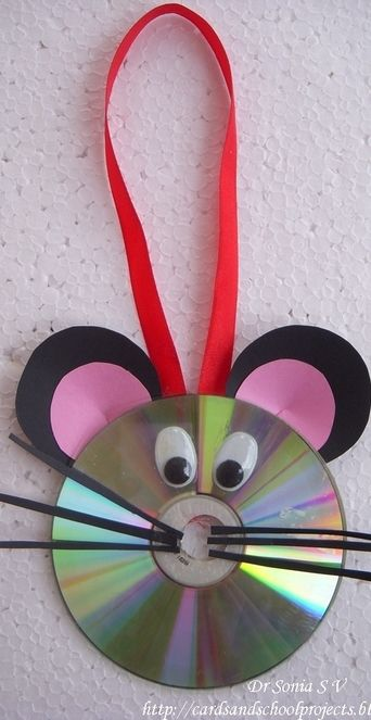 Mouse Hanging Decoration Recycled CD Craft For Kids