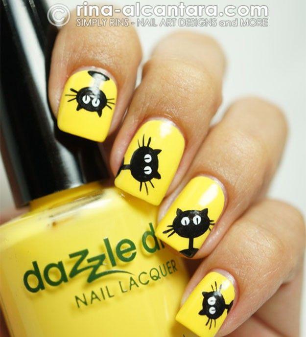 Cute Black Cats Cute And Artsy Yellow Nail Polish Inspirations For Thanksgiving
