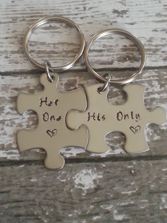 His and Her Puzzle Piece Keychain Set  by CustomSignsandStamps, $24.99  I would make this a HER AND HER but this is super cute and romantic !