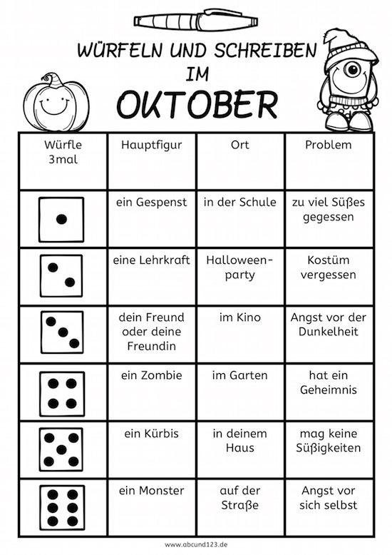 Würfeln und schreiben im Oktober