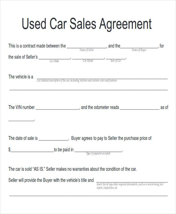 image result for car sale contract with payments