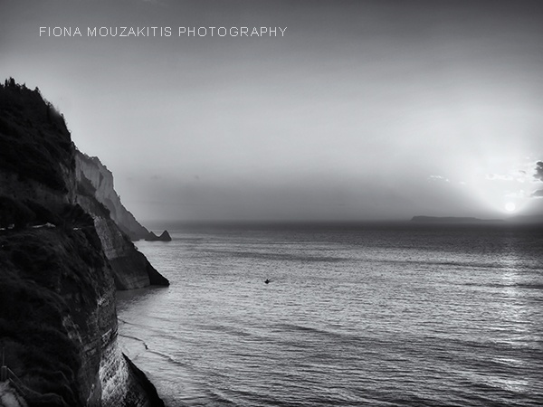 ISLAND VIEW. Sunset North Corfu Greece