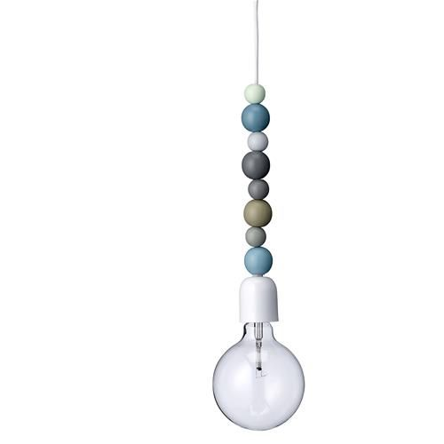 Bloomingville decorative bulb light with wooden beads.