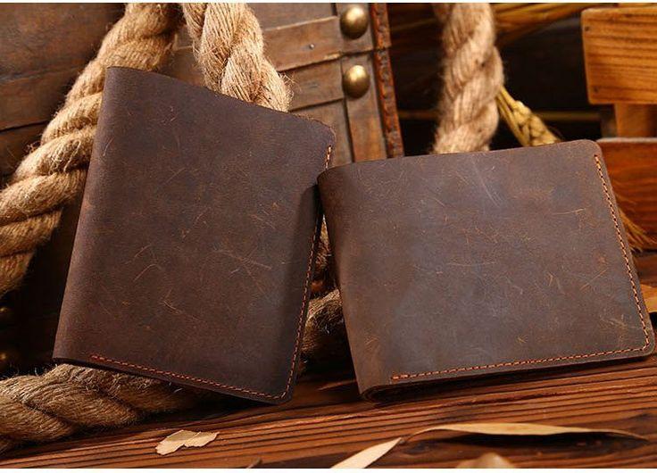 Men Wallet Vintage Top Quality Men Purse Genuine Leather Crazy Horse Wallet Brown
