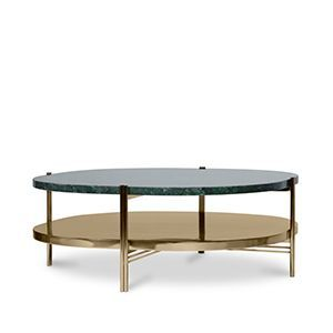 Craig is an oval mid-century modern coffee table that carries an uncompromised retro style and strong presence. It boasts a verde guatemala marble top, supported by a stainless steel structure in a brass finish with a low shelf for storage. A perfect centerpiece that brings a modern approach to its design.  Discover more: https://goo.gl/H77Ndc