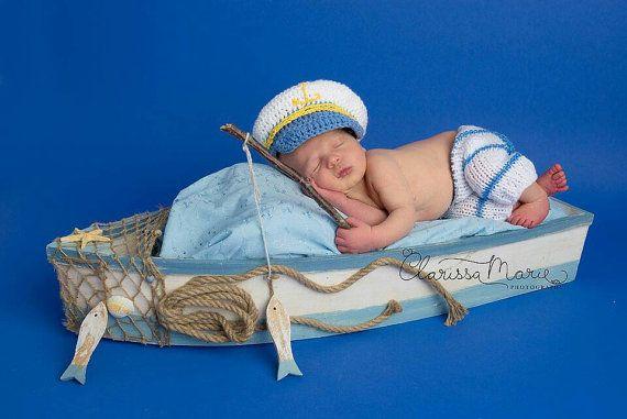 Newborn Baby Boy Set Baby Sailor Outfit Boy Hat by HandmadeTrend