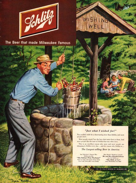 1951 Schlitz Beer print ad vintage decor cold by catchingcanaries