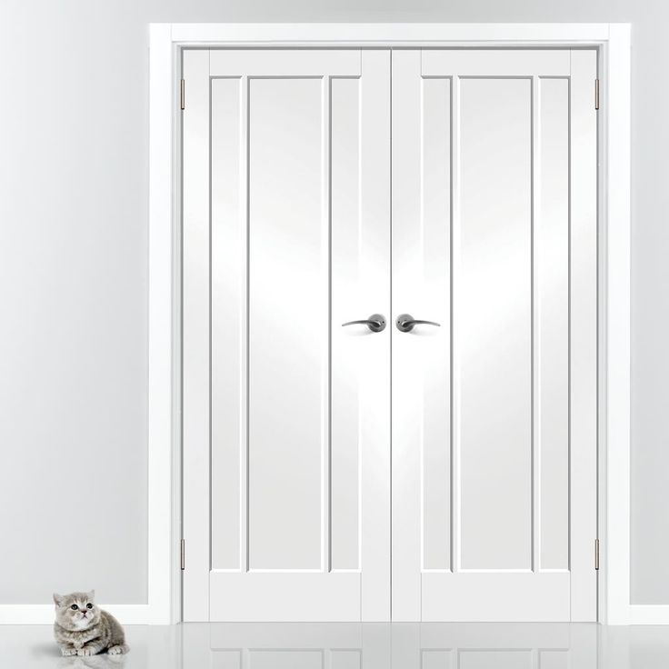 Worcester White Primed 3 Panel Door Pair. #frenchdoors #internalfrenchdoors #doorpair