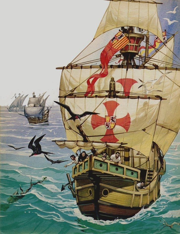 At long last the Columbus sailors saw land birds and floaring branches with green leaves still upon them. Joyously they realised that these were signs of land.