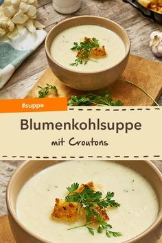 Do you like to eat cauliflower? Then you will probably like the wonderfully creamy cauliflower soup with croutons. #suppe # cauliflower #croutons #crusty