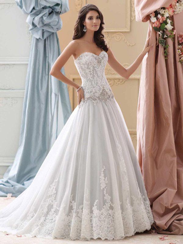 Tulle & Organza Ball Gown Lace Appliqué Wedding Dress- 115241 Lucien ...
