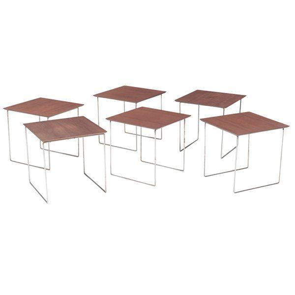 Poul Norreklit set of tables six E. Pedersen & Son Denm : Lot 959