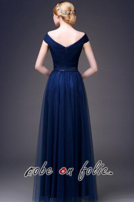 Très élégante robe de soirée longue en satin et tulle de couleur bleu foncé