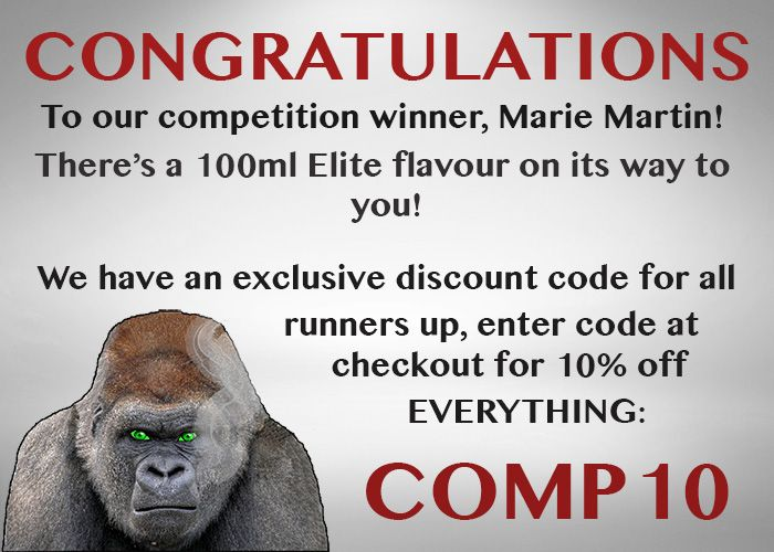 CONGRATULATIONS To Our #Comp Winner Marie Martin!  Get 10% Off ALL Orders With Code COMP10! http://ape-vape.co.uk/pages/browse-e-liquid
