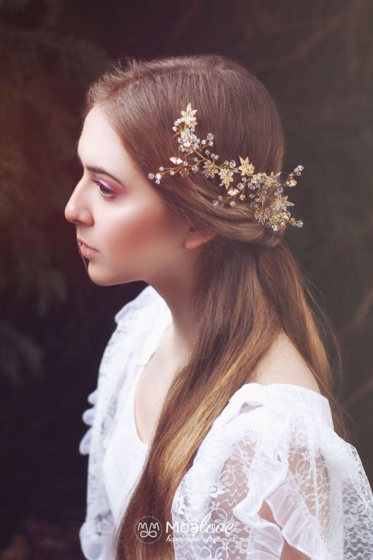 Hazel | stroik ślubny z listkami i kryształkami - OZDOBY DO WŁOSÓW ŚLUBNE…