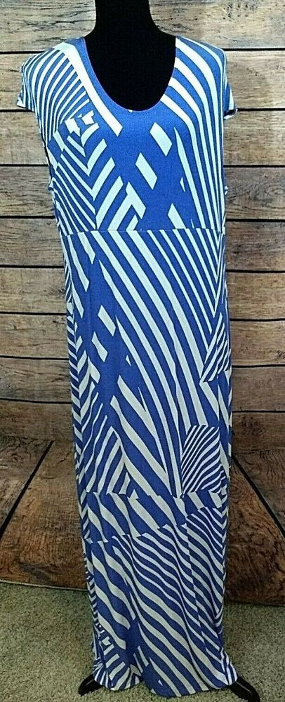 32b4d2eada Travelers by Chico's Size 2 Maxi Dress Blue/White Sleeveless Womens Slinky # Chicos #MaxiDress #Casual
