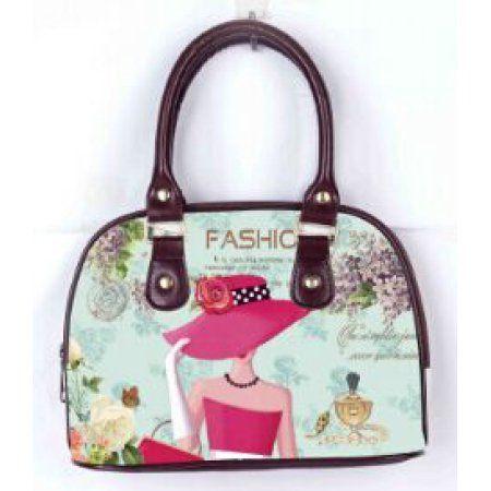 OH Fashion Women Tote Elegant Louise PU Leather, Travel, Beach, Big Handbag with zipper, makeup organizer Retro & Vintage, Women's, Brown